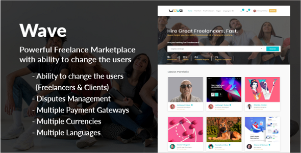 Wave - Powerful Freelance Marketplace System with ability to change the Users