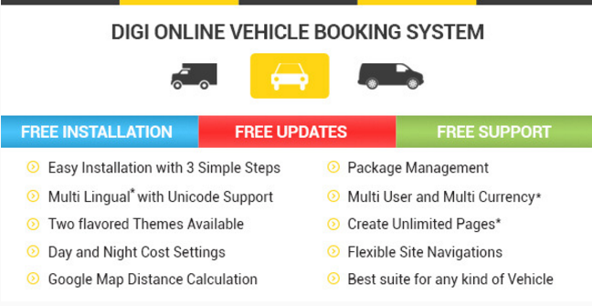 Digi Online Vehicle Booking System - DOVBS PHP Script - PHP FIX