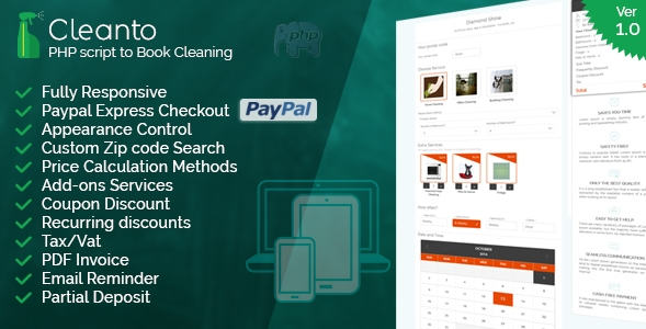 Booking system for cleaning companies-Cleanto PHP Script