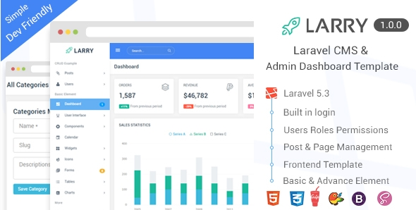 LARRY Laravel CMS Admin Dashboard Template PHP FIX - Php dashboard template
